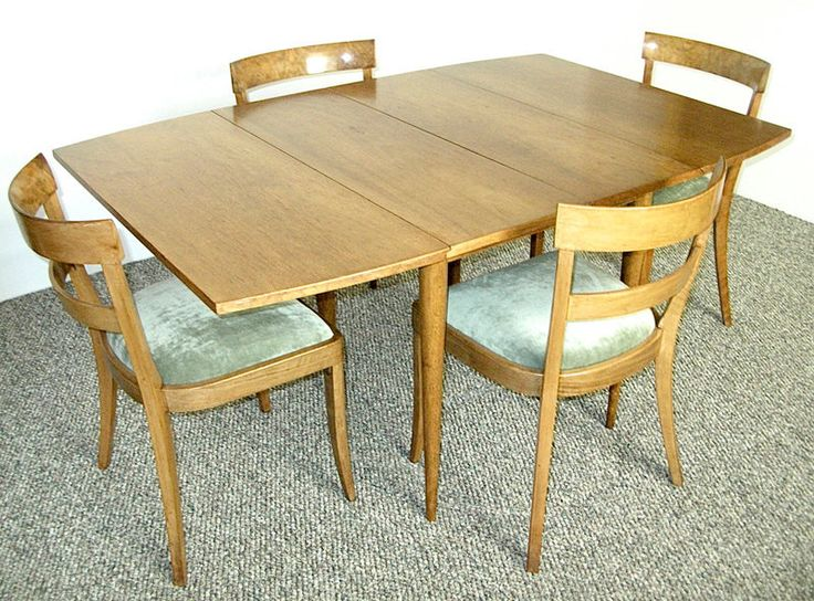 Mid Century Modern Drop Leaf Extension Dining Table