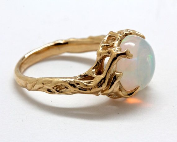 14k gold opal tree ring holding up the moon  NYC by billyblue22, $820.00 if only it was silver and emerald or amethyst hexagon