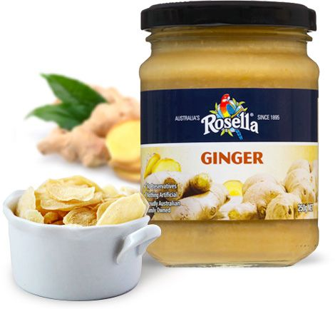 Rosella Ginger uniquely boasts all natural ingredients, so it's no wonder it tastes so delicious. The flavour is slightly biting with a hot note that makes it a wonderful ingredient in any seafood, meat or poultry recipe. Ginger combines well with a variety of ingredients including basil, chilli, coconut, coriander, garlic, lemon, lime, mint, soy, turmeric and spring onion. Take soups, sauces or any Asian dish effortlessly to the next level, with a hint of ginger.  Available in 250g jar.