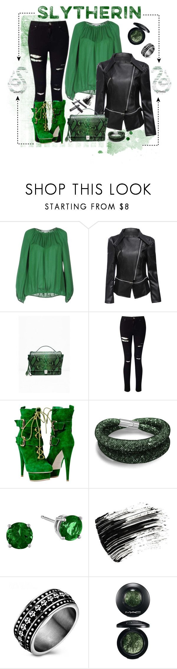 """Slytherin"" by loveisintheairdesigns ❤ liked on Polyvore featuring Diane Von Furstenberg, Zadig & Voltaire, Miss Selfridge, Marc Jacobs, MAC Cosmetics and slytherin"