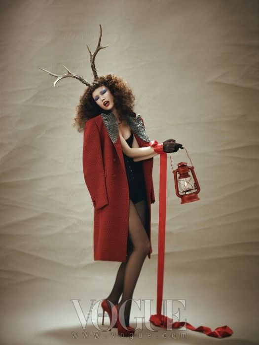 "The Terrier and Lobster: ""Red Christmas"": Kyung Ah Song in Vogue Korea December 2012"
