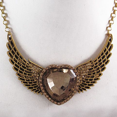 vintage angel wings champagne crystal & big heart love crystal glass choker women gold necklaces-in Choker Necklaces from Jewelry on Aliexpress.com   Alibaba Group
