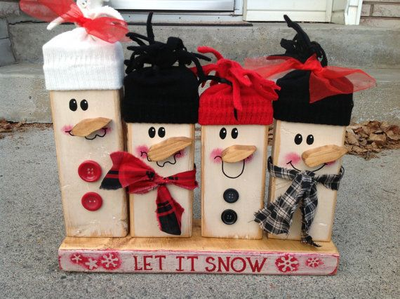 Christmas Snowman Rustic family shabby chic Let it snow snowman family with fabric hats and scarves buttons country rustic decor decoration. $35.00, via Etsy.