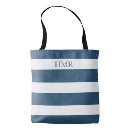 Deep Sky Blue and White Stripe Monogram Tote Bag - monogram gifts unique design style monogrammed diy cyo customize