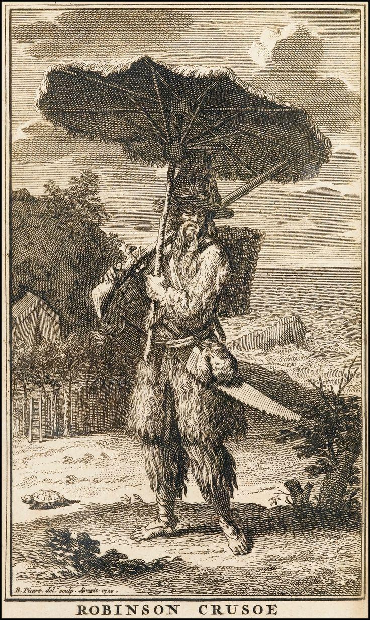 'Robinson Crusoe' (Daniel Defoe) engraving by Bernard Picart, 1720. Spliced together from screencaps. [source].. Biblipeacay
