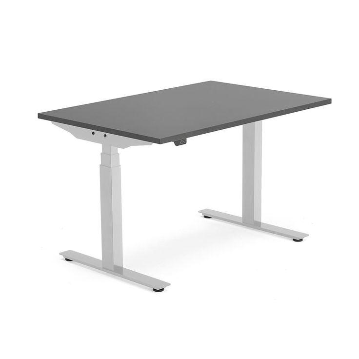 Skrivbord Modulus, höj och sänkbart, t-stativ, 1200x800 mm, silver, svart