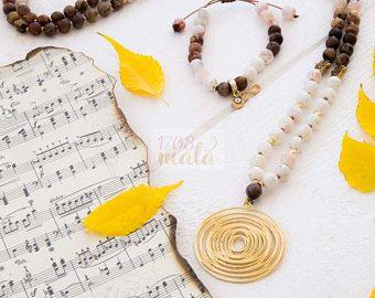 Tree & Fire Agate 108 Mala Beads Necklace semi-precious stones, golden metal charms, 108 Mala beads, yoga gift, meditiation jewelry, pray