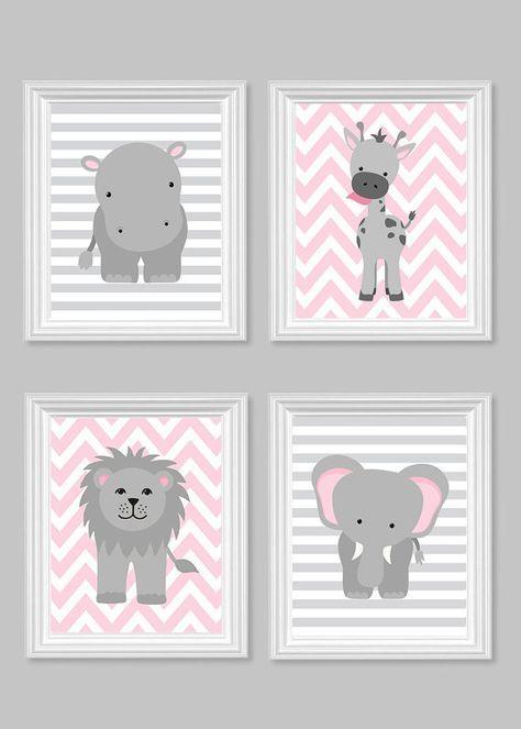 Zoo Nursery décor pépinière gris et rose par SweetPeaNurseryArt Plus