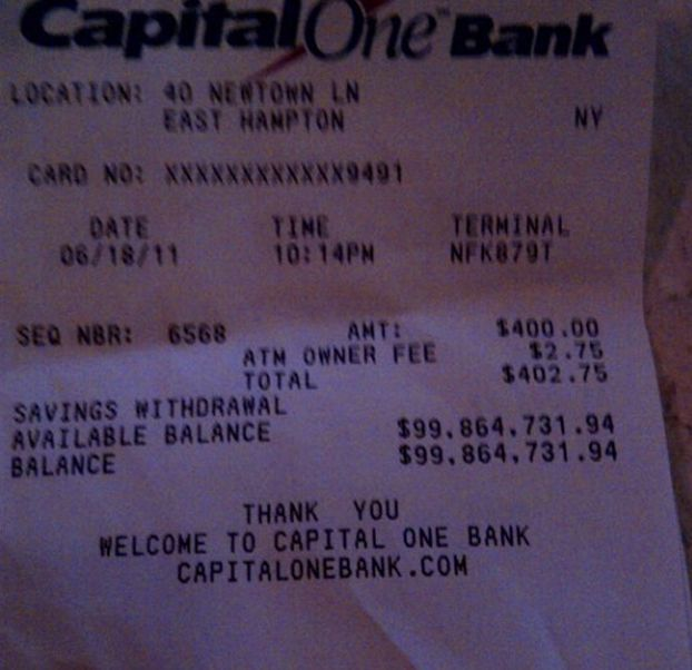 Here Is The Largest Bank Account Balance You Will Ever See On An ATM Receipt | Thought Catalog