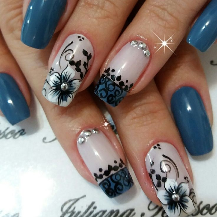 Beautiful blue, black, &white floral nails