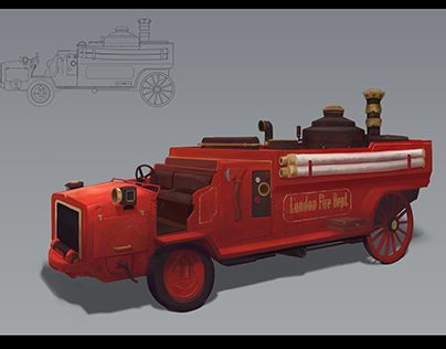 """Check out new work on my @Behance portfolio: """"Steampunk firefighter car"""" http://be.net/gallery/32853171/Steampunk-firefighter-car"""