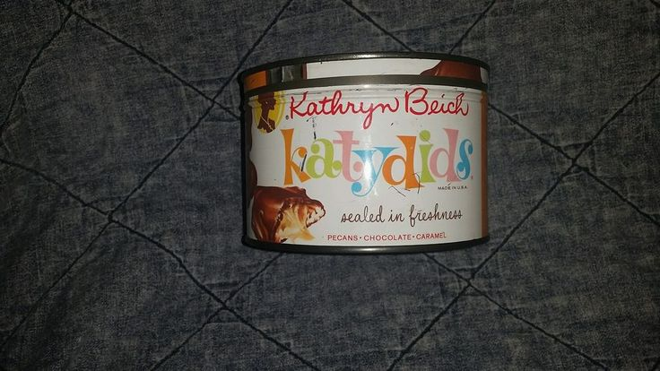 Vintage TIN w/ KEY-WIND LID KATHRYN BEICH katydids Candy Can Canister midcentury