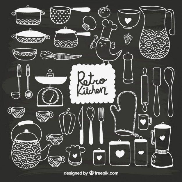 Mão kitchenware tirado no estilo negro Vetor grátis                                                                                                                                                                                 Mais