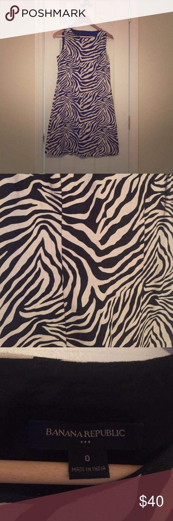 Banana Republic Zebra Print Dress Beautiful zebra print short sleeved dress. Very flattering. Banana Republic Dresses