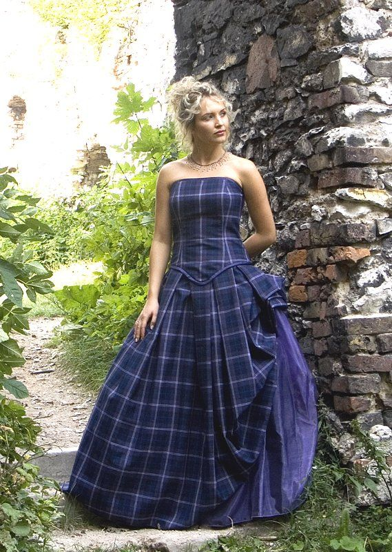 Tartan Wedding Gown, Isla | Kilts and Scottish Kilts from Edinburgh. My daughter has said for a while that she wants a blue wedding dress - wonder if she'd go for the family tartan?!?