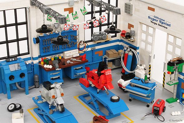 Check out These Incredibly Detailed LEGO Auto Garage and Scooter Service Shop Builds