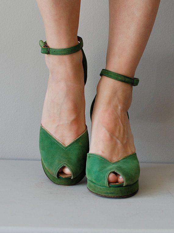 1940s Shoes 40s Platform Heels Green Shoes Sardonyx