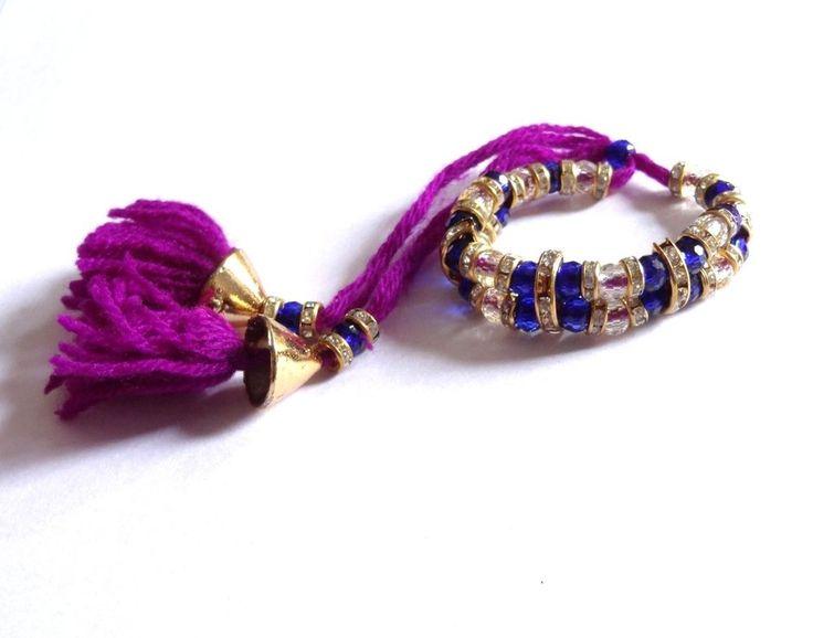 Indian Festival Rakhi Rakhi / Bracelete Blue White Crystal Stone Raksha Bandhan #IndianBrand #Friendship