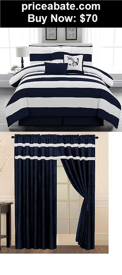 Bedding: 7 piece Microfiber Nautical Comforter set Navy Blue & White Striped Queen size - BUY IT NOW ONLY $70