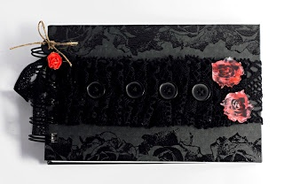 #notebook by Dorotka with TES-020 #rose #stamp from 3rd Eye * #stamping with hot #embossing and #shrink #plastic *** #goth #gothic #dark #black