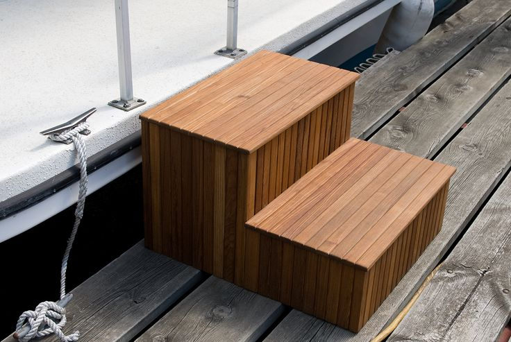 Best Custom Teak Dock Steps For The Boat Tiny Boat Teak Boat 400 x 300