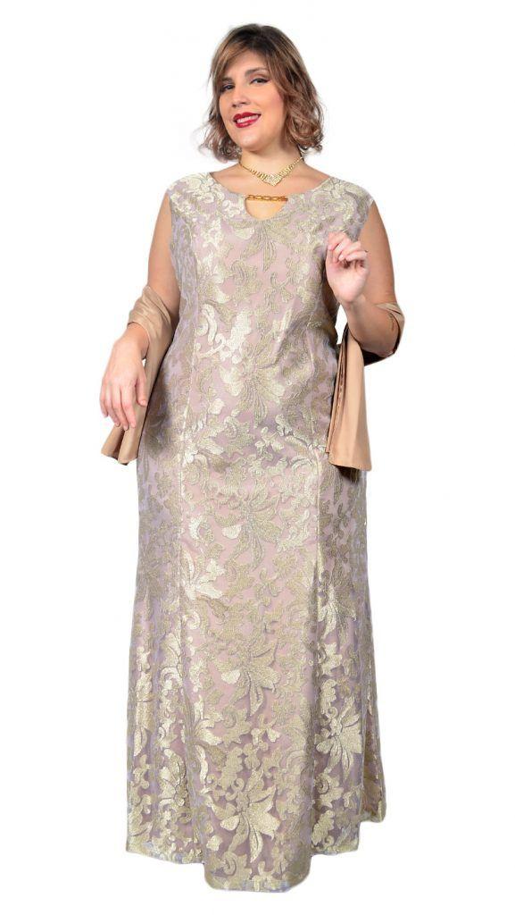 08667a1c6d Vestido de Festa Plus Size Longo em Renda de Tule Devorê