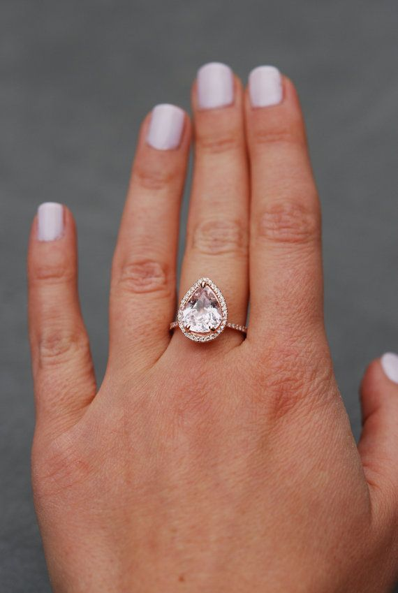 Engagement Ring Peach champagne Sapphire by EidelPrecious on Etsy