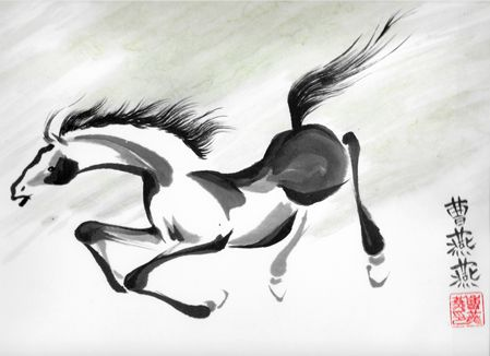 Downhill Run 8x10 giclee print of brush painted horse by Tracie Griffith Tso of Reston, Va.