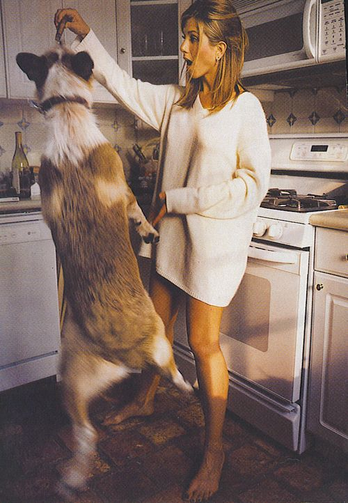 the two things all men need: jennifer aniston and a dog