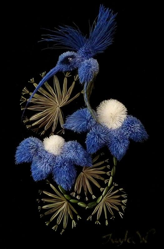 tw-blue h-bird two blue flowers-smartists/moose-hair-tufting/