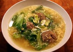 It was a soupy weekend. The rain was coming down and the air was starting to chill down again. We decided to make a big pot of the family Escarole Soup recipe and have some friends over for dinner. This nourishing soup is easy to make, and it always pleases a hungry, soggy crowd.