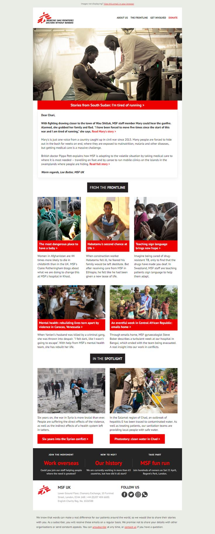 MSF UK: In your monthly e-news: tired of running in South Sudan | sign language brings hope in Swaziland | Syria conflict six years on | and more