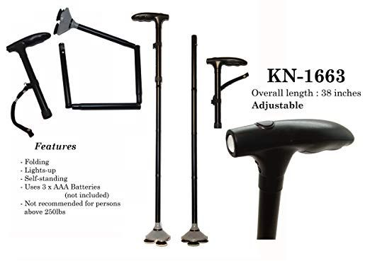 LED Sturdy Folding Pivoting Head Cane Walking Triple Head