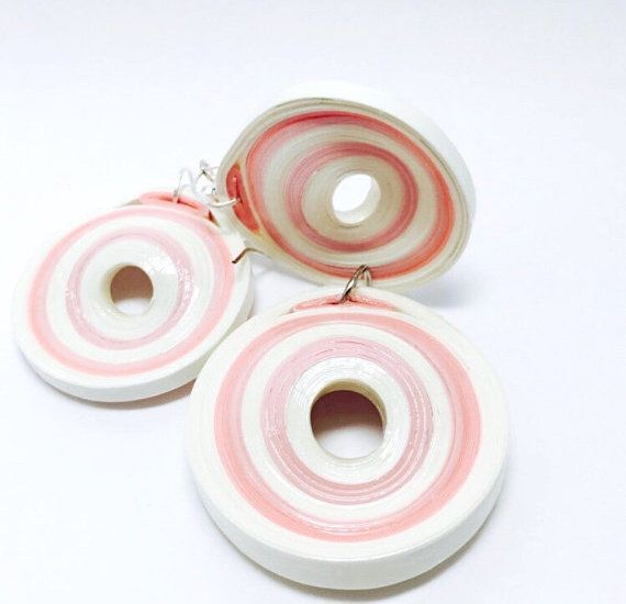 Quilled Earrings and Pendant - Paper Jewelry Set for Breast Cancer Support - Pastel Jewelry - Minimalist Jewelry - Modern Art Jewelry