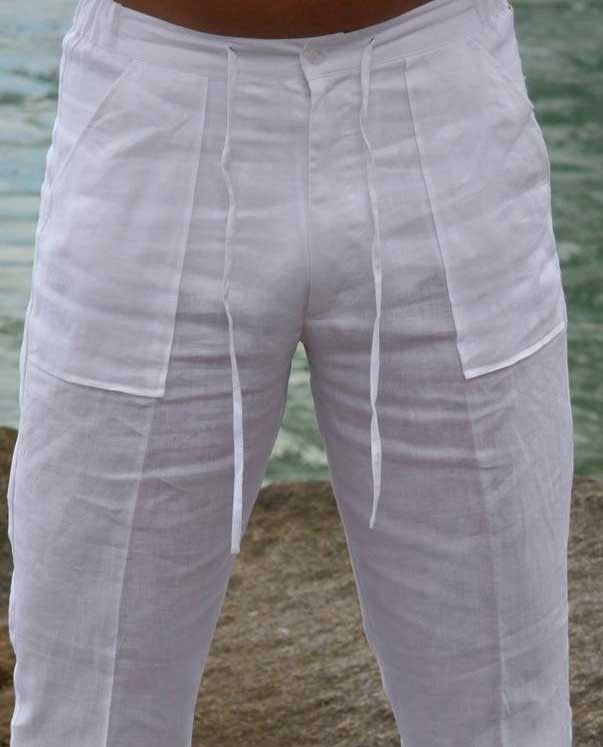 Drawstring Pants for Men Linen 100%.