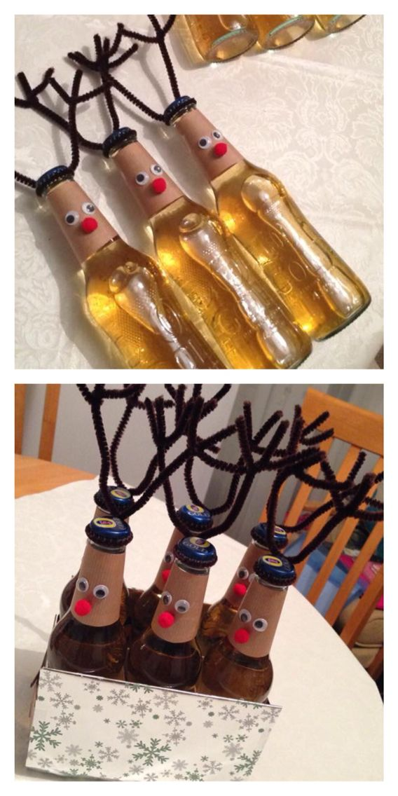 Reindeer themed beer bottles. Gift for my brother