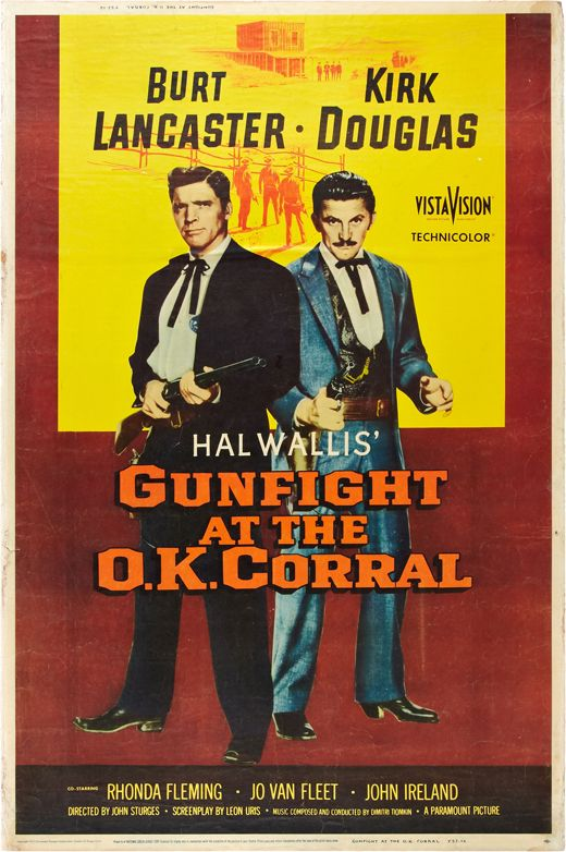 "Introducing a Western Folklore classic, ""Gunfight at the O.K Corral"" chronicles the story of US Marshall Wyatt Earp and outlaw Doc Holiday forming an unlikely friendship culminating into a gunfight at the O.K Corral. Directed by John Sturges in 1957, the film stars acting legends Kirk Douglas and Burt Lancaster. The movie itself brought in two Oscar Nominations for Best Sound and Editing."