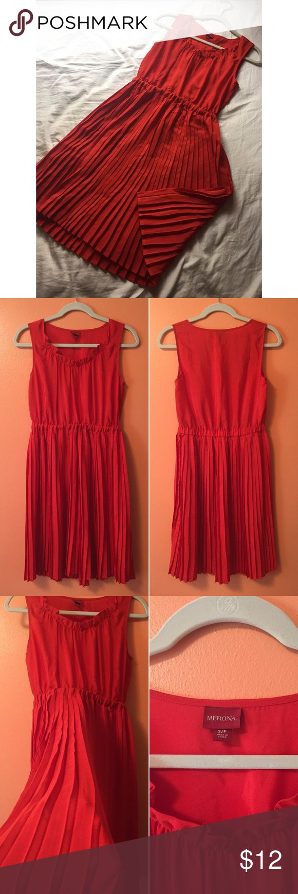 Brand new red pleated dress This dress is in perfect condition! It looks great on its own during the day, or dressing it up for a night out. The material itself has no stretch, but it does have an elastic waistband. Thanks for looking! Merona Dresses
