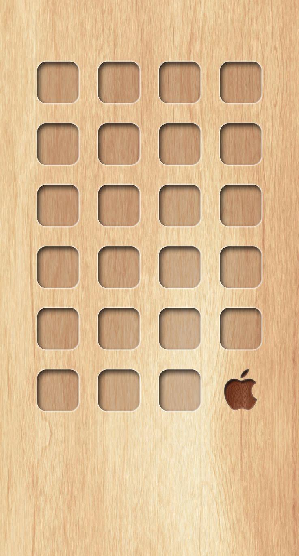 » Shelf wooden board brown yellow Apple logo wallpaper.sc iPhone6