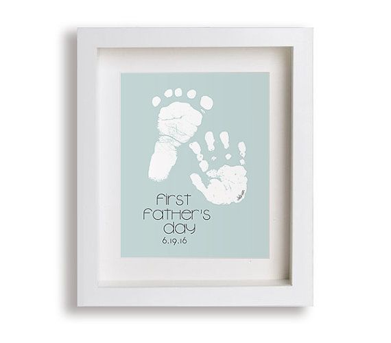 New Dad Gift - First Fathers Day Custom Hand & Foot Print (please read how it works below before ordering) * ORDER BY SUNDAY, JUNE 12 FOR DELIVERY BEFORE FATHERS DAY. * Celebrate Dad on his first Fathers Day with artwork featuring his little ones hand and foot prints. HOW IT WORKS: 1.) You take prints at home with a black ink pad and paper (not included). 2.) Scan the prints and email them to us. (When scanning the prints, an actual scanner must be used for the size to be accurate. Phone/...