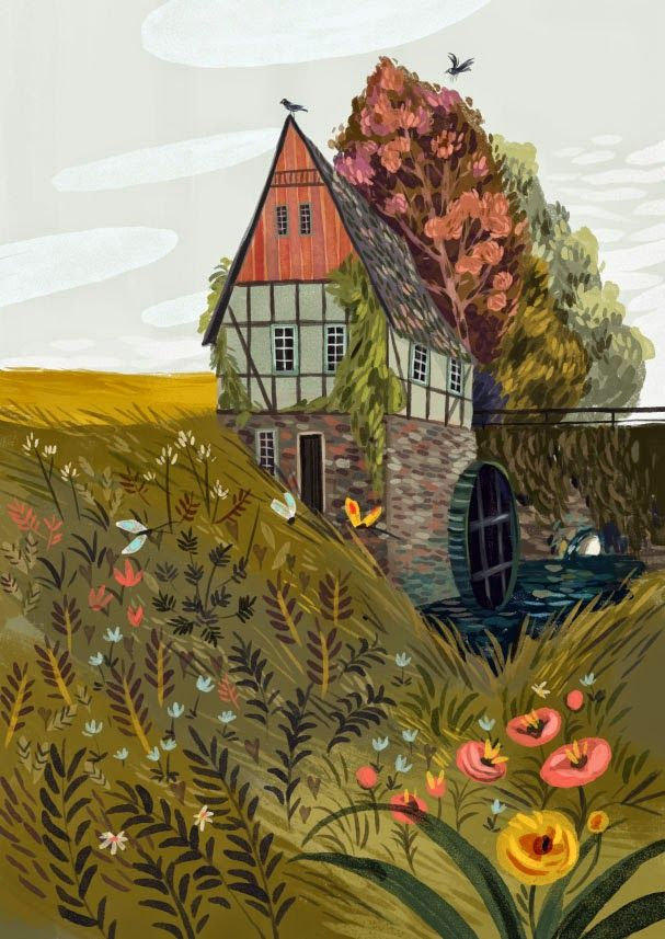 An illustration of a beautiful pastoral countryside home surrrounding by fauna, flowers and fields (by Olga Demidova)