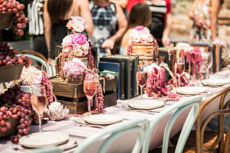 Gorgeous pops of Colour in the floral arangement / Table Deco / Kitchen Tea / The Grounds Of Alexandria / Rustic / Naked Cake   Why have ONE cake, when you can have FOUR?   #statement  Venue // The Grounds Of Alexandria Styling & Floral Design // Mary Mitry  Photography // G6K Photography Cakes // Trovatino Cafe