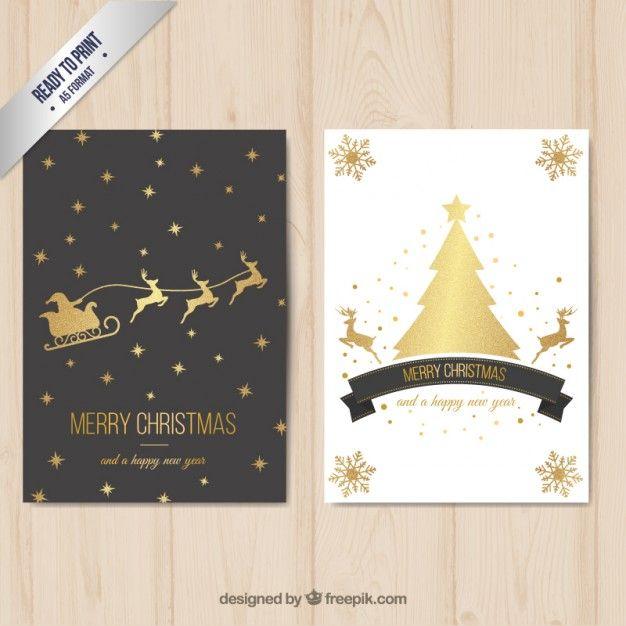 Веселая рождественская открытка с золотой отделкой Бесплатные векторы