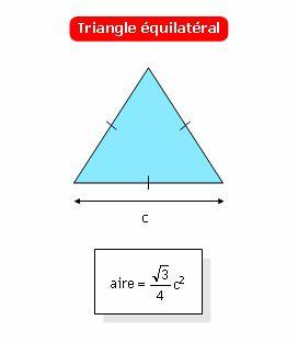 Calculer l'aire d'un triangle équilatéral connaissant son côté