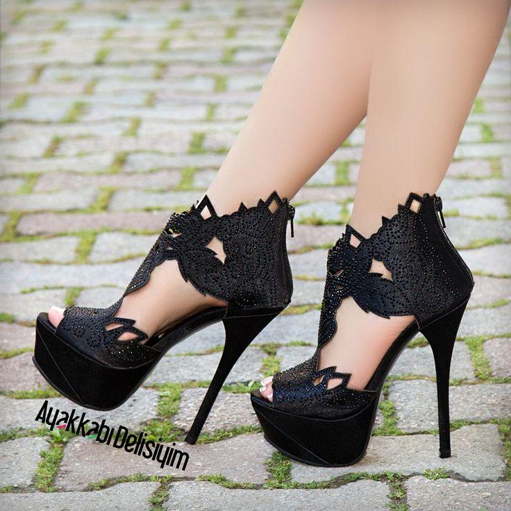 Saten Taşlı Şık Topuklu Ayakkabı #heels