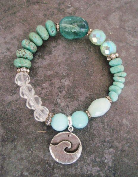 Beach Boho stretch bracelet ' PIPELINE ' sea green fluorite, turquoise, artisan dangle wave charm, surfer beach bohemian, stack bracelet.