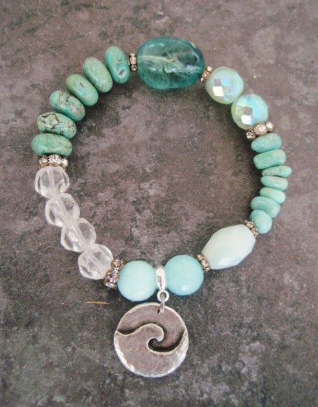 Beach Boho stretch bracelet ' PIPELINE ' sea green fluorite, turquoise, artisan dangle wave charm, surfer beach bohemian, stack bracelet.