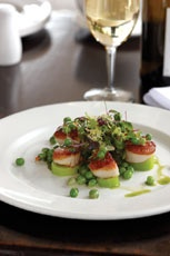 French Seared Scallops with Leek and Pea