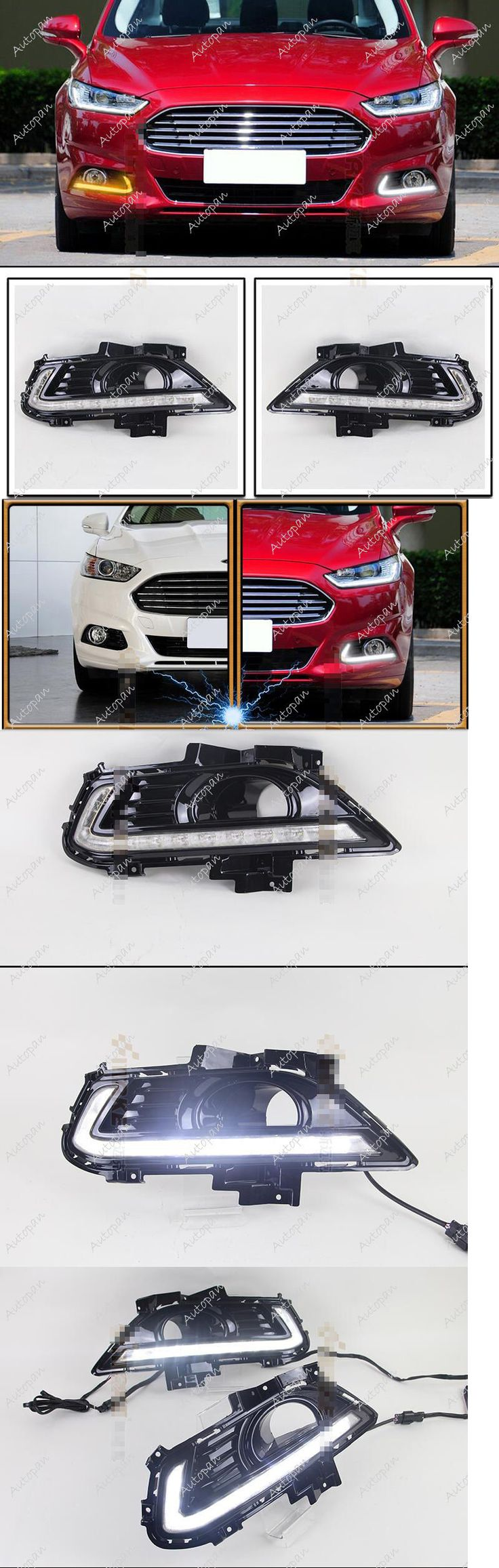 Motors parts and accessories 2x drl led daytime running light fog lamp yellow signal for ford fusionmotor