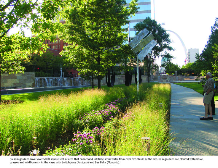 Modern Rain garden - Citygarden, St. Louis - Nelson Byrd